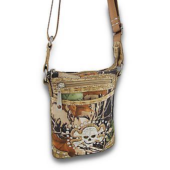 Camo Print Cross Body Bag w/Mock Croc Trim en schedel/Crossbones Accent