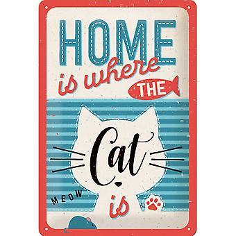 Hem är där katten är nostalgisk design stor tennskylt