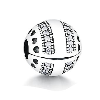 Karkötő 925 Sterling Ezüst Gyöngyök Pave Clip Charm európai gyöngyök DIY Női Ékszer | Varázsa