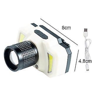 Led ajovalaisin taskulamppu kirkas USB ladattava päävalaisinpoltin vedenpitävä ajovalo camping