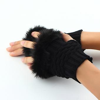 Fashion Winter Arm Warmer Fingerless Gloves Knitted Fur Trim Gloves Mitten