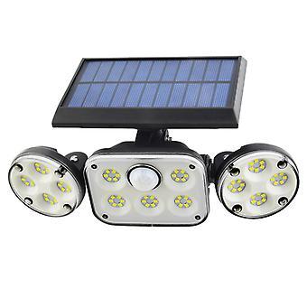Solar Lamp Three Heads Led Solar Wall Light Outdoor Waterproof Rotating Wall Light Human Body Induction Garden Light 78 Led