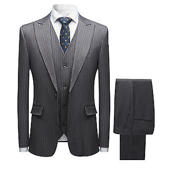 Mile Mens Grey Pinstripe 3 Piece Suit White Stripe Vintage Gatsby Style Smart Tailored Fit