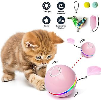 Cat Toys For Indoor Interactive Ball With Light Catnip Funny Chaser Roller