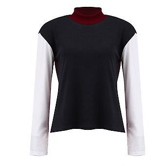 Colorblock Knit Jumper Women High Neck Sweater Baggy Pullover Knitwear