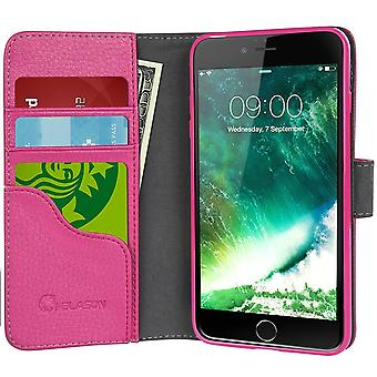 i-Blason-iPhone 7 Plus Case, Wallet Case Credit Card ID Holders-Pink