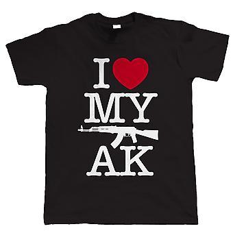 I Love My AK,  Mens Gamer Airsoft or Paintball AK47 T Shirt