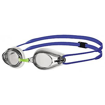 Arena Tracks Swim Goggle - Clear Lens - White/Blue Frame