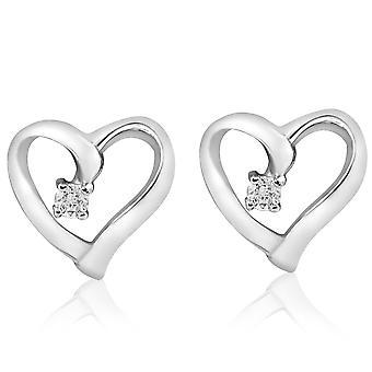 Diamant hjärta form örhängen 14K guld