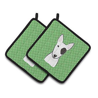 Carolines tesouros BB1132PTHD verde xadrez Bull Terrier par de pegadores de panela