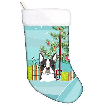 Christmas Tree and Boston Terrier Christmas Stocking