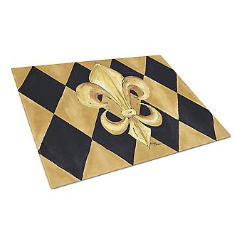 Black and Gold Fleur de lis New Orleans Glass Cutting Board Large