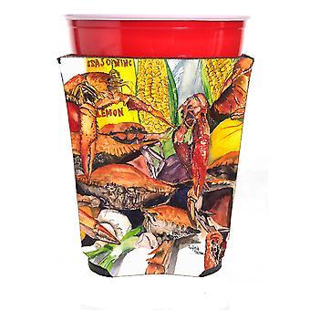 Carolines Treasures  1016RSC Veron's and Crabs Red Solo Cup Beverage Insulator H