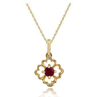 Gemondo 9ct Yellow Gold 0.16ct blommig Ruby hänge på kedja