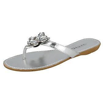 Damen-Spot auf flachen Fuß Post Sandale mit Schmetterling Trim - F0453