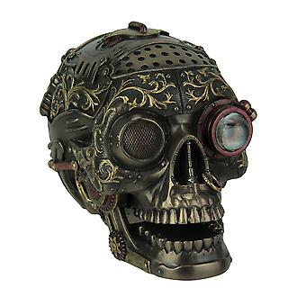 Steampunk Style Human Skull Bronze Finished Statue With Movable Jaw