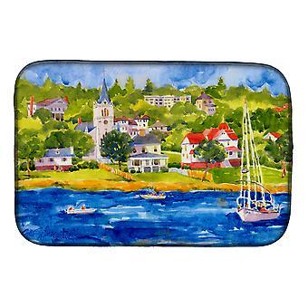 Carolines Treasures  6031DDM Harbour Scene with Sailboat Dish Drying Mat