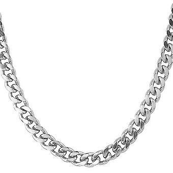 Iced uit roestvrij staal Gourmetketting - CUBAANSE 8 mm zilver