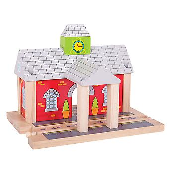 Bigjigs Rail Wooden Railway Station Track Expansion Playset Platform