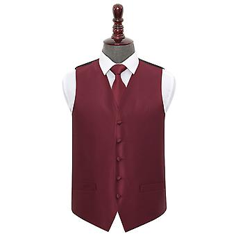 Bourgondische Solid Check Wedding Vest & amp; Tie Set