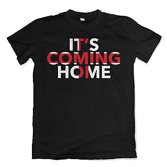 Fußbälle Coming Home in England Flagge T-Shirt (schwarz)