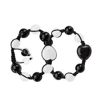 Yin Yang Herzen Energie Liebespaare oder beste Freunde magische Kräfte Achat weißem Quarz Edelsteine Armbänder