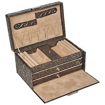 Scatola di Sacher gioielli gioielli caso antracite TULLE grigio cassetti con serratura