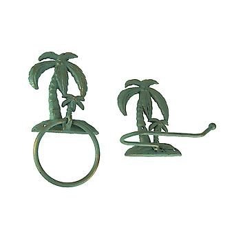Verdigris Patina Cast Iron Palm Tree Towel Ring and Holder Set