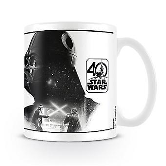 Star Wars 40th Anniversary Tasse Darth Vader weiß, bedruckt, aus Keramik, Fassungsvermögen ca. 315 ml..