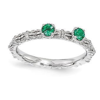 2.5 ממ 925 מלוטש כסף שטרלינג הגדר מצופה רודיום ביטויים הערמה יצרה אזמרגד שתי טבעת תכשיטים אבן