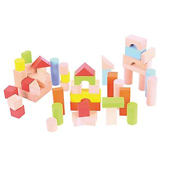Bigjigs Toys Tub of Wooden Building Bricks Blocks Stacking Stacker Construction