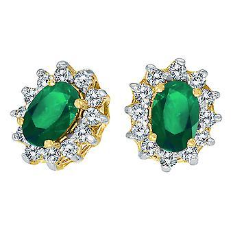 LXR 14k keltainen kulta soikea smaragdi ja .25 yhteensä ct timantti korvakorut 0,62 ct