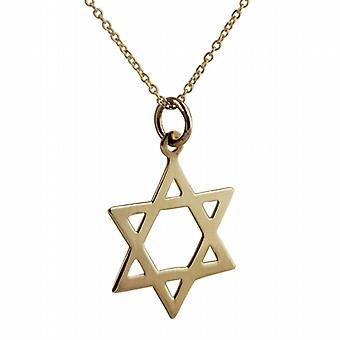 9ct Gold 21x17mm plain Star of David Pendant with a cable Chain 20 inches