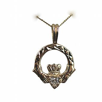 9ct Gold 20x15mm diamond cut Claddagh set with CZ Pendant with a curb Chain 20 inches