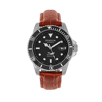 Heritor Automatic Lucius Leather-Band Watch w/Date - Silver/Brown