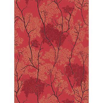 Oriental Japanese Wallpaper Trees Botanical Garden Glitter Grey Red Blown Vinyl