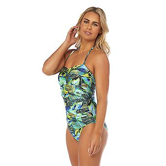 Seaspray SY007788 Women's Eden Green Multicolour Floral Costume One Piece Draped Bandeau Swimsuit