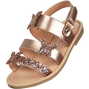 Meninas de ouro sparkly sandálias planas com guarnições de borboleta
