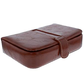 Mele - Mason Brown PU Cuff Link and Tie Pin Compartment Travel Case 1554