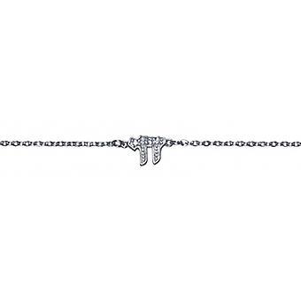 Rhodié Hai sølv halskæde med 45cm Zirconia Cubic