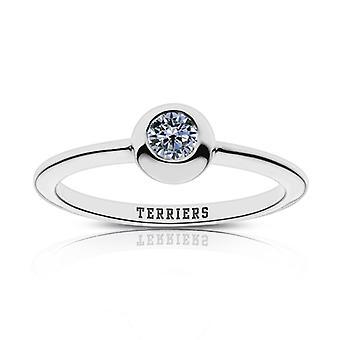 Boston University Sapphire Ring In Sterling Silver Design by BIXLER
