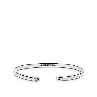 Tampa Bay Lightning Engraved Sterling Silver Diamond Cuff Bracelet