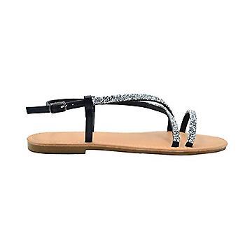 Via Rosa hyvät muoti sandaalit slingback PU Summer Flats murskattu strassit