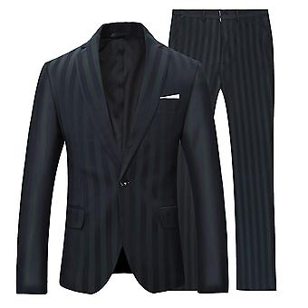 Allthemen Herren Schwarz&Grün gestreift 2-pieces Classic Casual&Formal Wild Suits Blazer&Trousers