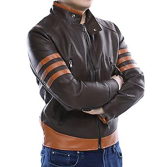 Allthemen Men's Leather Coat Stripe Stand Collar Leather Jacket