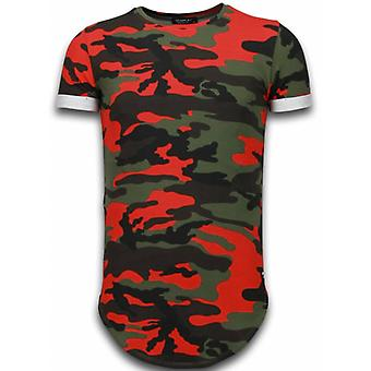 Known Camouflage T-shirt - Long Fit -Shirt Army - Red