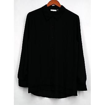 سوزان Graver أعلى الريشة نسج طويل الأكمام زر زر الجبهة قميص أسود A273451