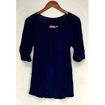 Ava Rose Lattice Embellished 3/4 Sleeve Knit Tee Blue Top Womens #6
