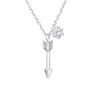 السهم - 925 قلادة فضية الجنيه الاسترليني مرصعة بالجواهر - W36839x