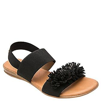 Andre Assous Niri Double Banded Elastic Sandal with Suede Fringe Pompom (8 B(...